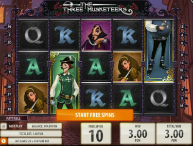 the three musketeers videoslot screenshot